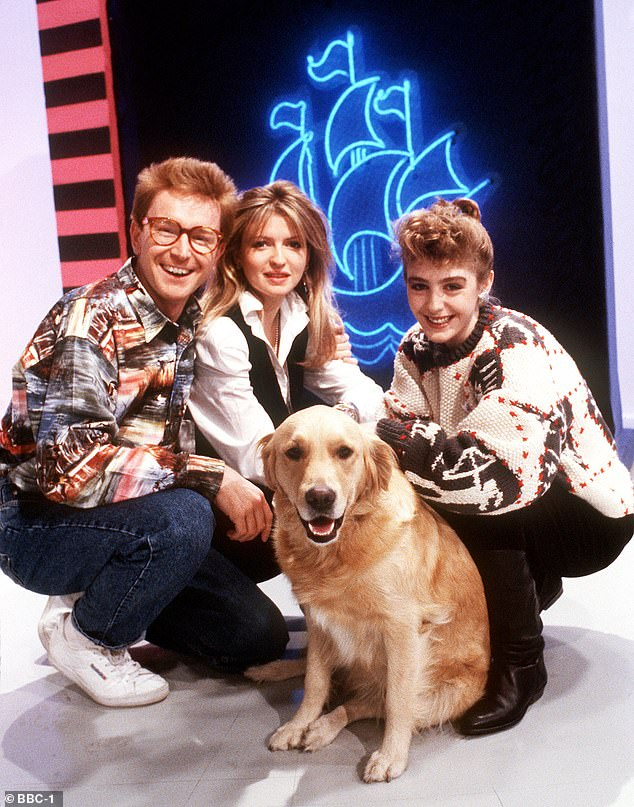 Great fun:Phillip embarked on a relationship with the late Caron Keating (centre), after he saw her being introduced as a new Blue Peter presenter in 1986