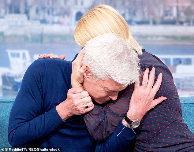 Emotional:The This Morning host made the decision to come out earlier this year as he shared an emotional Instagram statement with his followers, before being interviewed by co-host Holly Willoughby just moments later (pictured at the time)