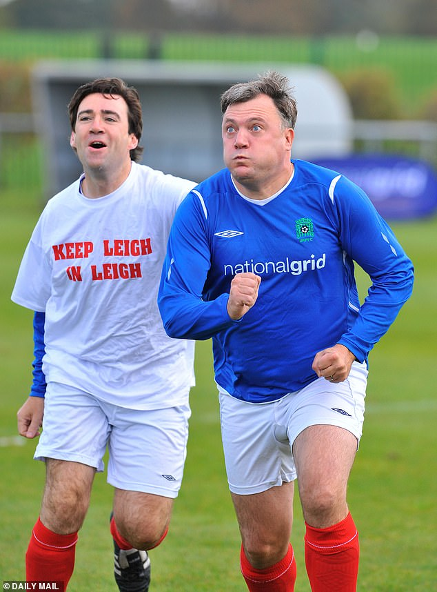 Andy Burnham and Ed Balls at a charity football match at the Labour Party Conference