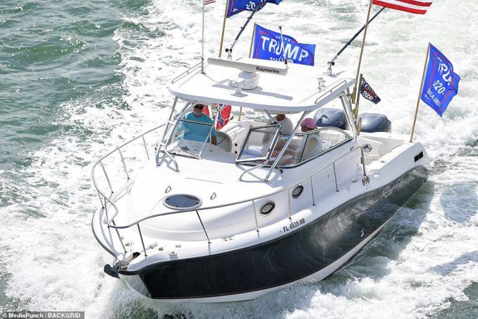 One proud Republican flew flags from the back of his boat as he cruised along the Miami shoreline