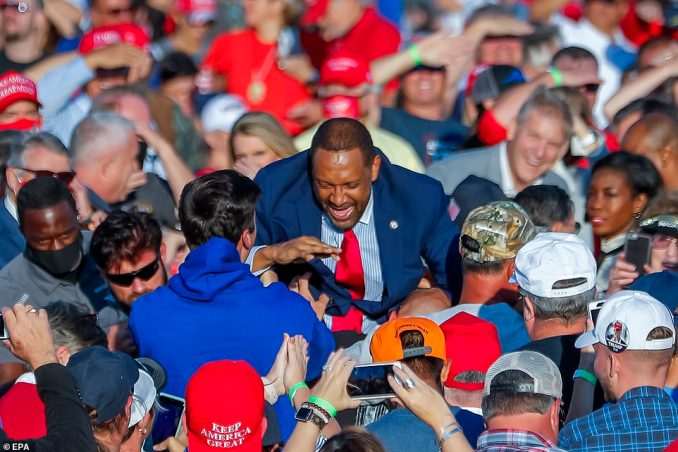 Democratic Georgia State Representative Vernon Jones, a supporter of Trumps, surfed the crowd before Trump arrived to participate in his Make America Great Again rally