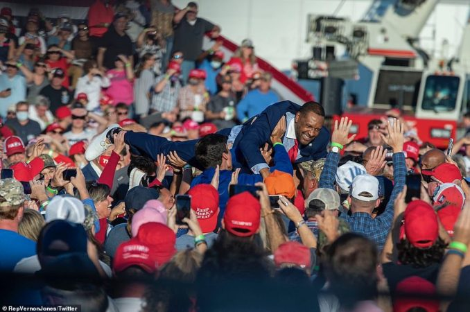 The Representative tweeted this photo of himself as he crowd surfed among those gathered