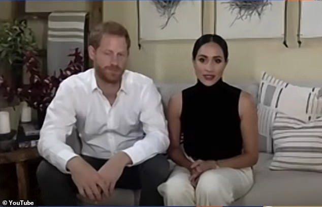 Biographer Robert Lacey, whose most recent book Battle of Brothers picks apart the rift between the Princes William and Harry, said it has dawned on Meghan that her speaking out about 'more extreme' subjects could be detrimental to her husband's position within the Royal Family. Pictured: Harry and Meghan during apre-recorded conversation with Nobel laureate Malala Yousafzai last weekend