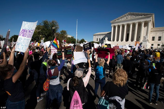 Women's March demonstrators rally in front of the United States Supreme Court in Washington, DC, on Saturday