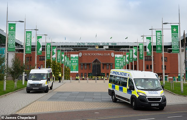 Celtic Way, the iconic avenue infront of Celtic Football Club's Park Park Head Ground, had a heave police presence ahead of the Old Firm Derby today to stop desperate fans from gathering near the stadium