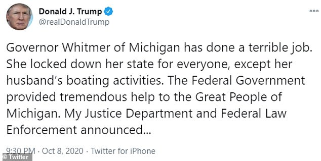 Donald Trump on Thursday night attacked Gretchen Whitmer, in response to her blaming him for stoking extremism