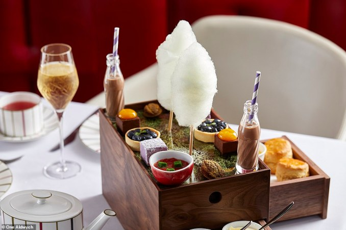 The menu for the Charlie & the Chocolate Factory afternoon tea includes a swudge milkshake (pictured) and 'fabulous fluffy floss', which it explains playfully as 'not for dentists!'