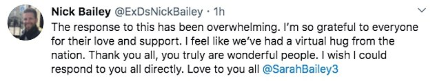 DS Bailey today said he had been overwhelmed by the reaction from the public to his announcement, likening it to a 'virtual hug'