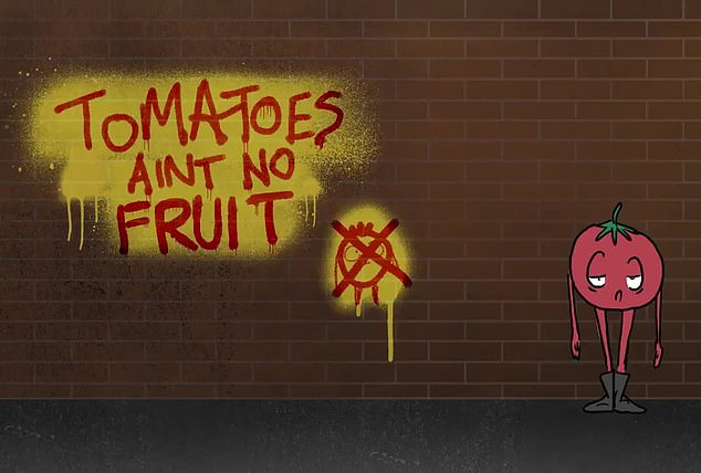 Later in the clip, the tomato sees a lemon spraying graffiti that says: 'Tomatoes ain't no fruit.' Former officer Harry Miller, of the campaign group Fair Cop, said: 'It is beyond absurd. This is why the public are losing respect for the police'
