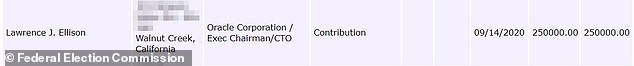 The above image shows a receipt for Ellison's donation, as displayed on the Federal Election Commission's website