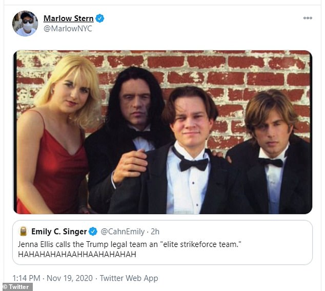 'Jenna Ellis calls the Trump legal team an 'elite strike force team.' HAHAHAHAHA,' one person on Twitter as they shared an image of the cast from panned cult classic The Room