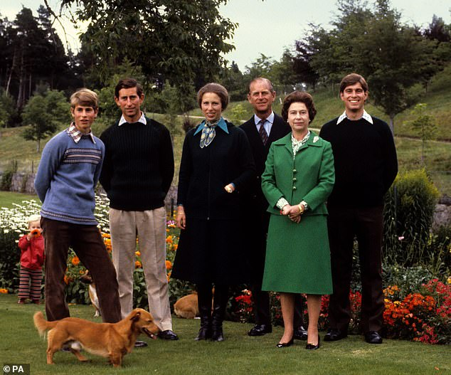 Peter Morgan found it credible that the Queen was 'much more ready to be a mother' to Prince Andrew, born in 1960, and Prince Edward, born in 1964 than she was to the older two. Pictured:Prince Edward, the Prince of Wales, the Princess Royal, the Duke of Edinburgh, Queen Elizabeth II and Prince Andrew in 1979