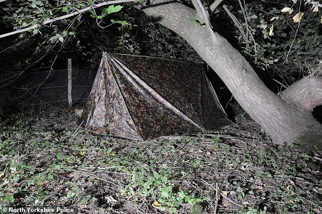 Andrew Pearson, 45, cried crocodile tears as he claimed he 'woke up' to find devout churchgoer Natalie Harker, 28, had turned 'purple' inside his tent (pictured) near Colburn, North Yorkshire in October 2019