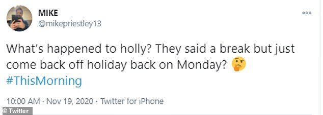 'What's happened to Holly?' Fans took to Twitter to express their confusion over the last-minute switch