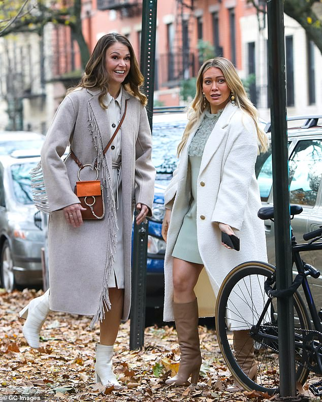 On the job: Hilary was last seen in NYC this week as she filmed scenes from her TV Land series Younger with the show's lead, Sutton Foster; shown November 17