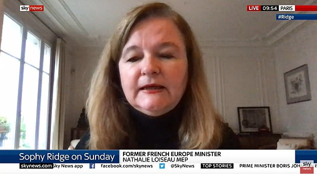 Speaking to Sophy Ridge on Sunday about the state of the trade deals, Nathalie Loiseau, a former Europe minister under Emmanuel Macron, said: 'I am a politician, I am neither optimistic or pessimistic'
