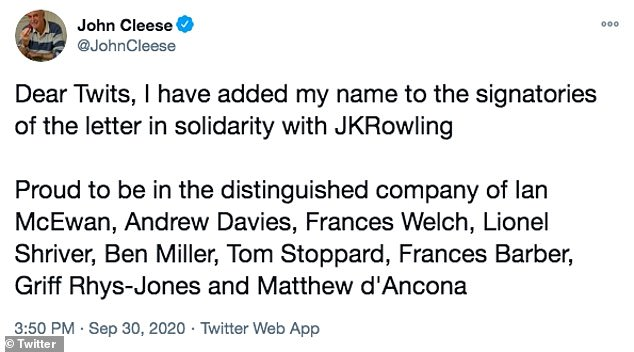 Cleese's comments on Sunday came in response to a Twitter user who had reposted a September 30 Tweet from the comedian stating that he had signed a letter in support of Harry Potter author JK Rowling