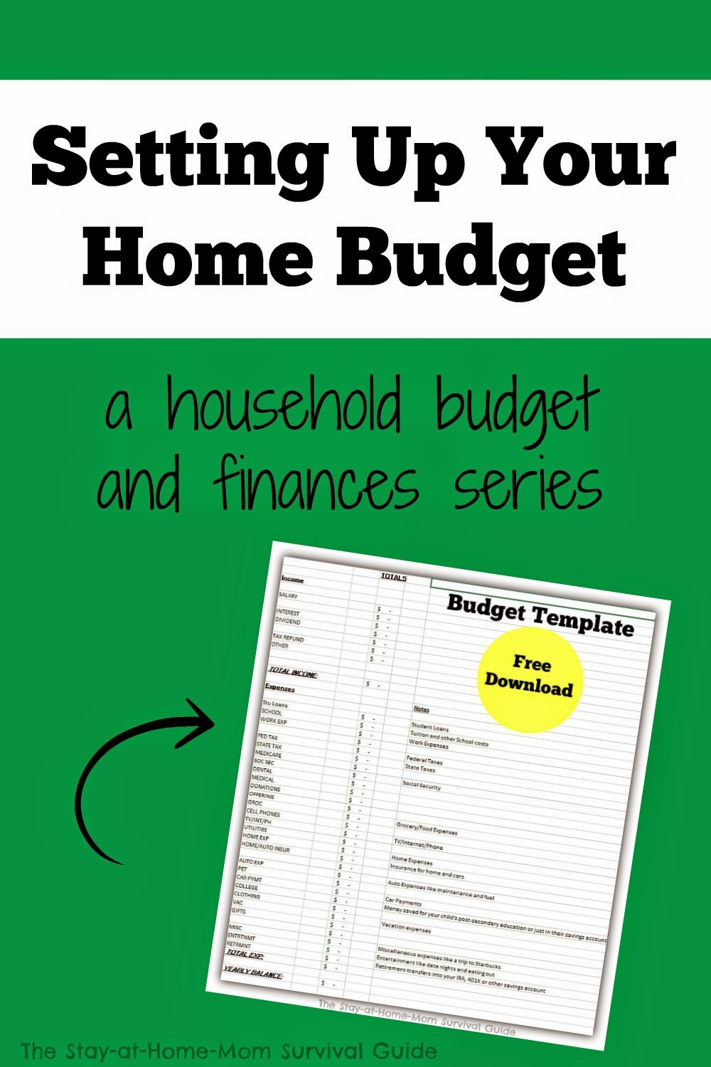 Setting Up Your Home Budget Free Download  The StayatHomeMom Survival Guide