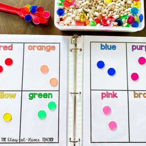 Color Magnets Sorting Sensory Bin
