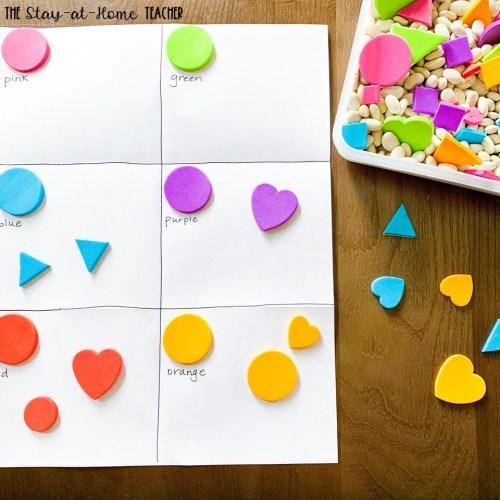 Color Stickers Sort Sensory Bin