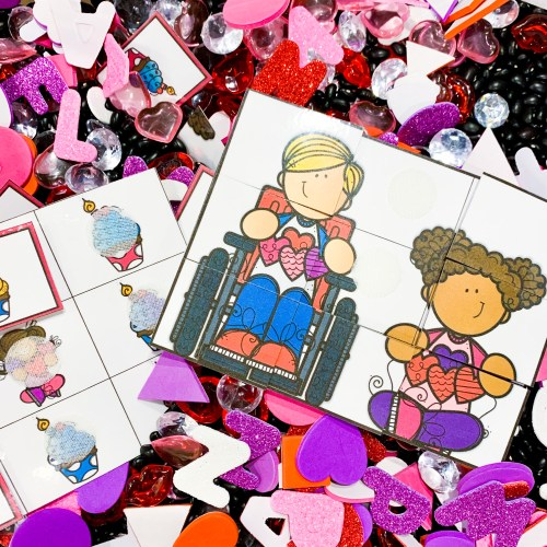 Valentine Sensory Bin Puzzles