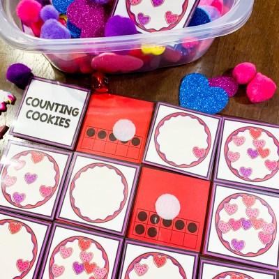 Valentine Counting Sensory Bin