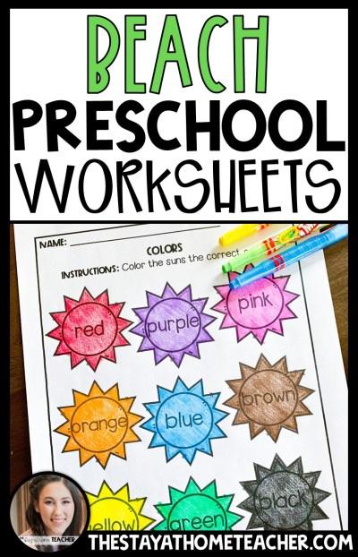 beach preschool worksheets