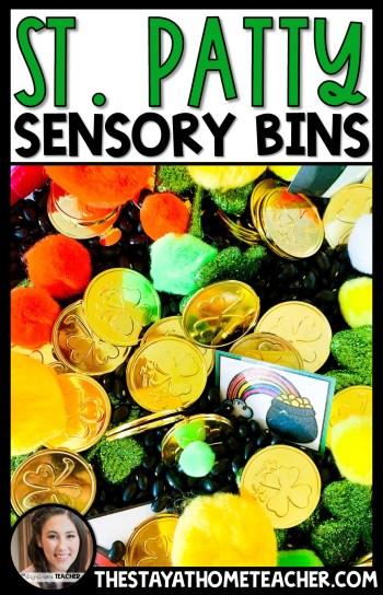 St. Patrick's Day sensory bins