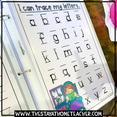 homeschool kindergarten handwriting tracing pages
