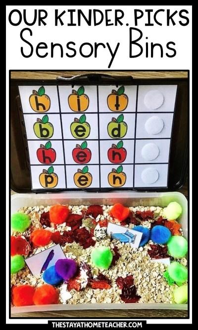 math and literacy sensory bins pin