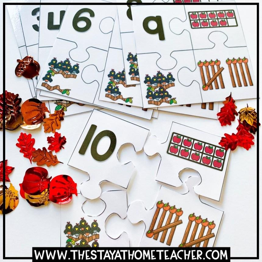 fall subitizing puzzles