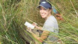 "Melissa Baustian, coastal ecologist with The Water Institute of the Gulf, does field work for a new paper in ""Wetlands"" looking at salinity and short-term soil carbon accumulation."
