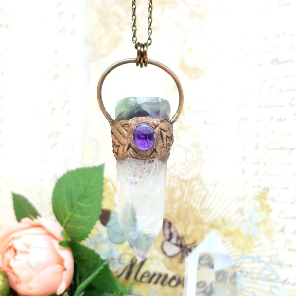Electroformed Fluorite Point and Amethyst Crystal Necklace with Bronze Chain