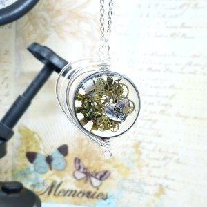 Steampunk Necklace in Silver Fancy Wire Wrap Large