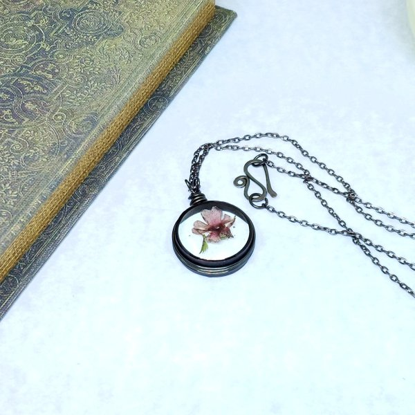 Real Flower Necklace in Gunmetal Simple Wire Wrap Small - Clearance