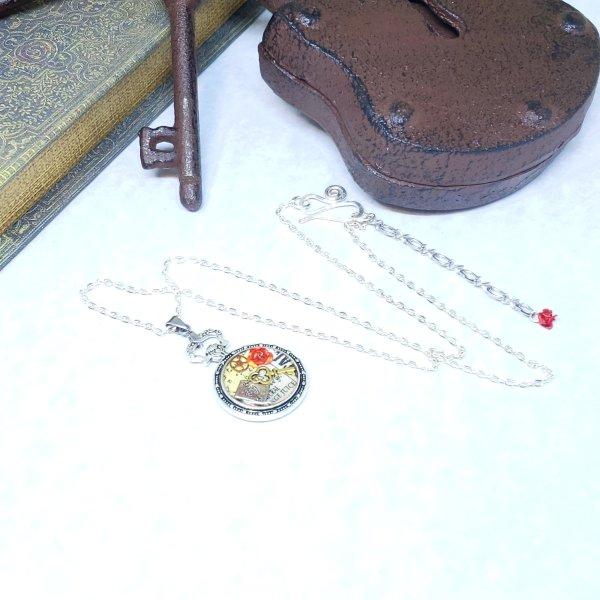Alice in Wonderland Pocket Watch Necklace in Silver