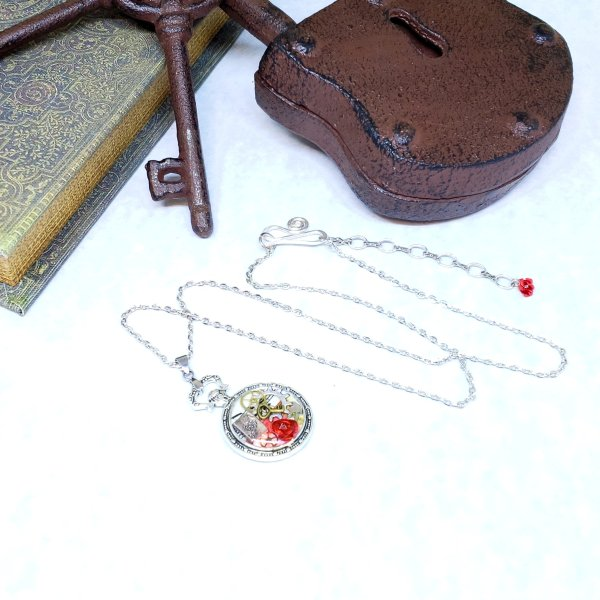 Alice in Wonderland Pocket Watch Necklace in Silver