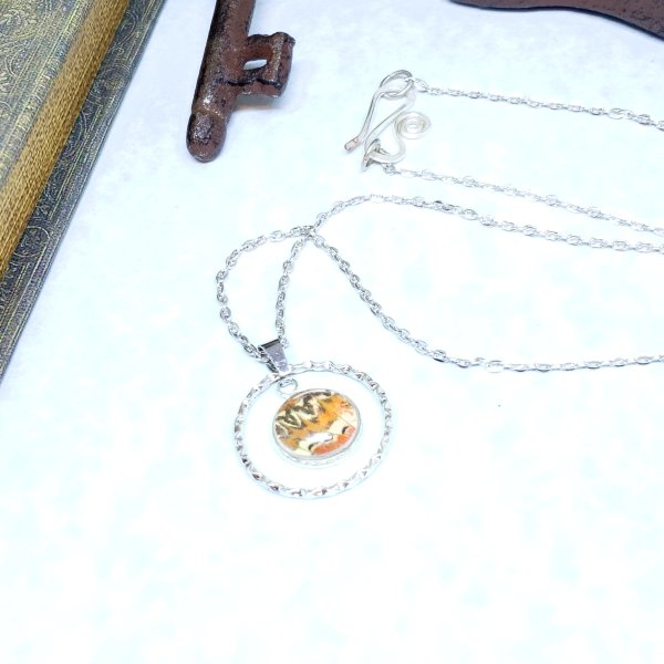 Red Lacewing Butterfly Large Circle Necklace