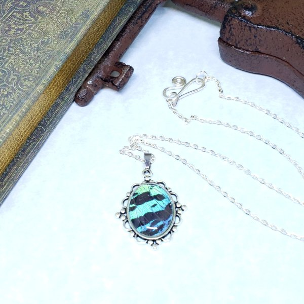 Madagascan Sunset Moth Victorian Style Necklace
