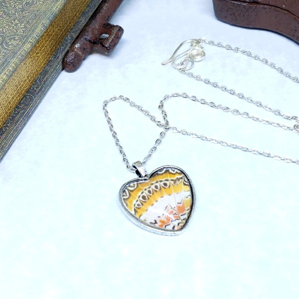 Red Lacewing Butterfly Silver Heart Necklace