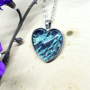 Madagascan Sunset Moth Silver Heart Necklace