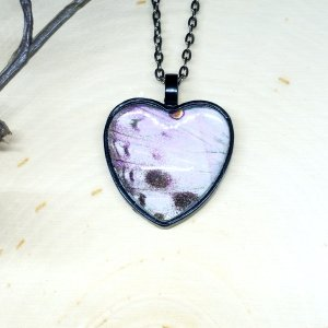 Mother of Pearl Butterfly Black Heart Necklace