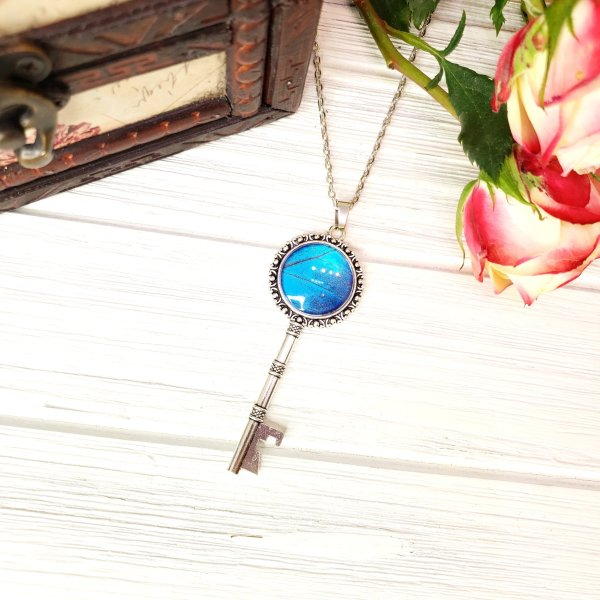 Blue Morpho Butterfly Silver Key Necklace