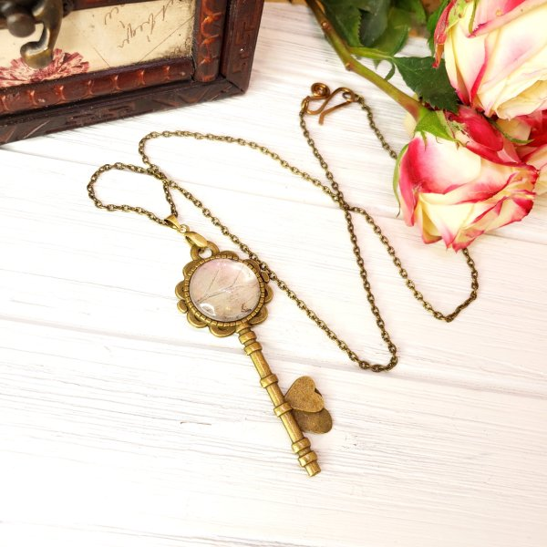 Mother of Pearl Butterfly Bronze Key Necklace