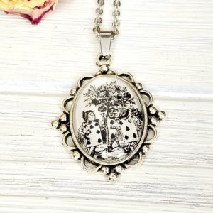 Alice in Wonderland Playing Cards Necklace in Silver