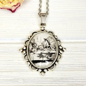 Alice in Wonderland Mad Hatter Tea Party Necklace in Silver