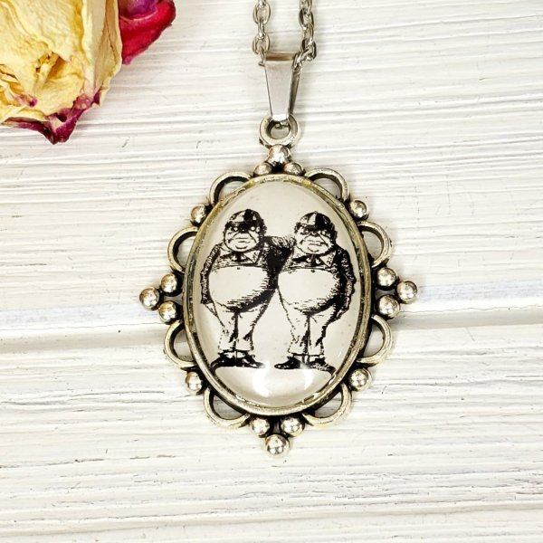 Alice in Wonderland Tweedle Dee and Tweedle Dum Necklace in Silver