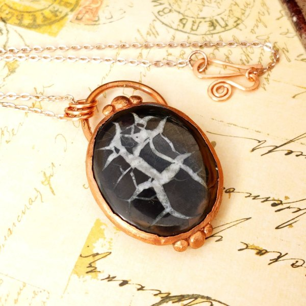 Electroformed Septarian Cabochon Necklace with Copper Chain