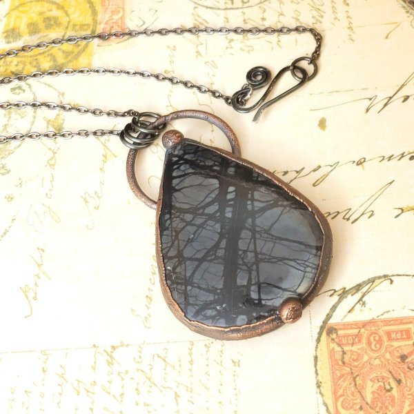 Electroformed Picasso Jasper Cabochon Necklace with Gunmetal Chain