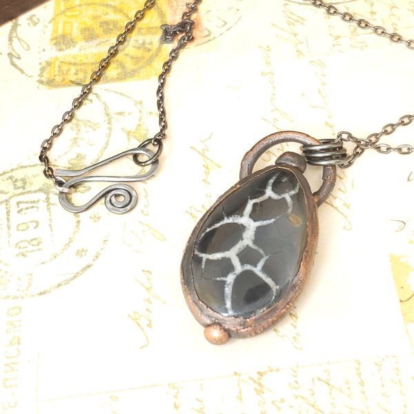 Electroformed Septarian Cabochon Necklace with Gunmetal Chain